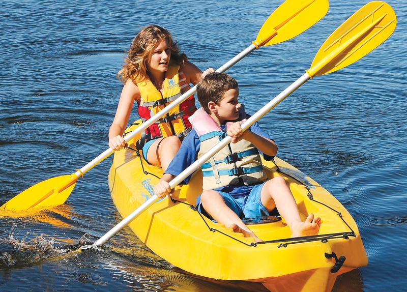Riding a kayak